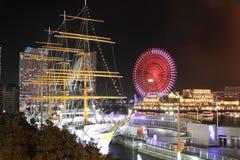 Nippon maru and Yokohama Cosmo World in Japan. Night scene Stock Photo