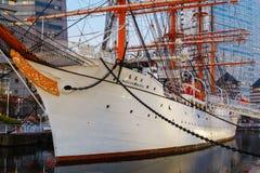 Nippon Maru in Yokohama, Japan. YOKOHAMA, JAPAN - NOVEMBER 24 2015: Nippon Maru was built in 1930, a retired sailing ship which permanently docked at Minato Royalty Free Stock Photo