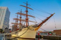Nippon Maru in Yokohama, Japan. YOKOHAMA, JAPAN - NOVEMBER 24 2015: Nippon Maru was built in 1930, a retired sailing ship which permanently docked at Minato Stock Image