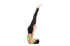 Niralamba Sarvangasana yoga pose Royalty Free Stock Photo