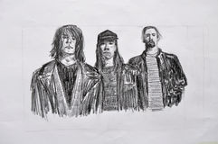Nirvana art drawing. Hand made pencil drawing of a legendary grunge rock stars - Nirvana featuring Kurt Cobain, Dave Grohl and Krist Novoselic. Nirvana based in Royalty Free Stock Photography