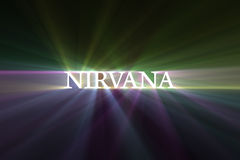 Nirvana life cycle speed light flare. Nirvana word shining with powerful light halo. Life & death cycles motion effect. Religious background Stock Photography