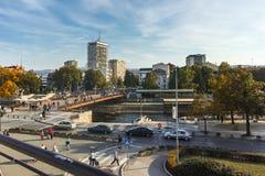 NIS,塞尔维亚2017年10月21日:从堡垒的Nis城市全景  免版税库存图片