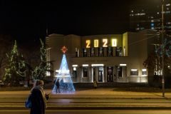 Free Nis, Serbia - December 18, 2019: Serbian National Theater In Nis With Christmas And New Year 2020   Decorations And Illuminations Stock Photography - 167394302