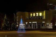 Free Nis, Serbia - December 18, 2019: Serbian National Theater In Nis With Christmas And New Year 2020 Decorations And Illuminations Royalty Free Stock Images - 167501869
