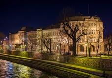 NIS, SERBIA - FEBRUARY 6, 2016: University of Nis building night royalty free stock photo
