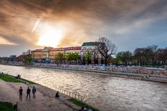 Nis, Serbia - November 4, 2018: City of Nis University landmark view by the Nisava river on a calming sunset royalty free stock images