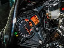 Nis,Serbia 8/17/2018 Suzuki gsxr 1000 motorcycle cockpit with RPM meter,Speedometer and other. In night royalty free stock images