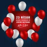 nisan cocuk的bayrami 23的传染媒介例证,翻译:土耳其4月23日全国主权和儿童节 皇族释放例证