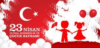 23 nisan cocuk baryrami. Translation: Turkish April 23 Children`s day. Vector illustration Stock Images