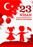 23 nisan cocuk baryrami. Translation: Turkish April 23 Children`s day. Vector illustration Royalty Free Stock Image