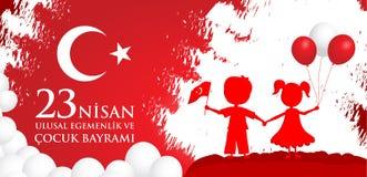 23 nisan cocuk baryrami. Translation: Turkish April 23 Children`s day. Vector illustration Royalty Free Stock Photo