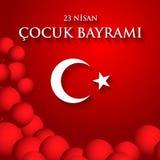 23 nisan cocuk baryrami. Translation: Turkish April 23 Children`. S Day. Vector illustration Stock Photos