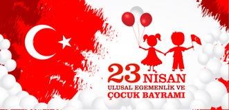 23 nisan cocuk baryrami. Translation: Turkish April 23 Children`s day. Vector illustration Royalty Free Stock Photography