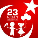 23 nisan cocuk baryrami. Translation: Turkish April 23 Childrens day. Vector illustration stock illustration