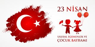23 nisan cocuk baryrami. Translation: Turkish April 23 Childrens day. Vector illustration Royalty Free Stock Photography