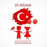 23 nisan cocuk baryrami. Translation: Turkish April 23 Childrens day. Vector illustration Stock Image