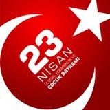 23 nisan cocuk baryrami. Translation: Turkish April 23 Childrens day. Vector illustration Stock Images