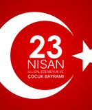 23 nisan cocuk baryrami. Translation: Turkish April 23 Childrens Day Vector Illustration. EPS10 Royalty Free Stock Photo