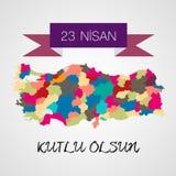 23 nisan cocuk bayrami as National Holiday of Turkey. Vector Royalty Free Stock Images