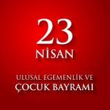 23 nisan uluslar egemenlik ve cocuk baryrami. Translation: Turki. Sh April 23 National Sovereignty and Children`s Day. Vector illustration Stock Images