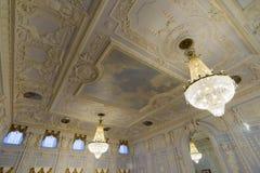 Nischni Nowgorod, Russland - 03 11 2015 Die Decke des Ballsaals im Museumszustand Rukavishnikov Lizenzfreie Stockbilder