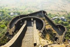 Niscy ramparts Lohagad fort, Pune okręg, maharashtra, India obraz royalty free