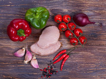 Nise fresh meat, greens, vegetables and spiced Stock Images