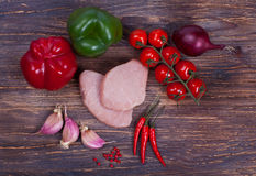 Nise fresh meat, greens, vegetables and spiced Royalty Free Stock Photos
