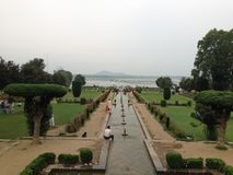 Nishat Garden Srinagar. Mogual garden Nishat Bagh overlooking Dal lake Srinagar, Kashmir, India Royalty Free Stock Photography