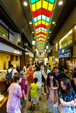 Nishiki Food Market Inside People Shops Kyoto Royalty Free Stock Photography