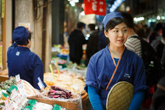 Nishiki matmarknad Kyoto Japan Royaltyfri Bild