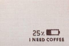 Niska bateria i Ja potrzebujemy kawowych słowa od kawowych fasoli, ustawiony dolny dobro obraz stock