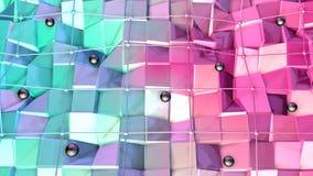 Niska poli- 3D powierzchnia z, czarne sfery jako środowisko i Miękki geometryczny niski poli- tło zbiory wideo