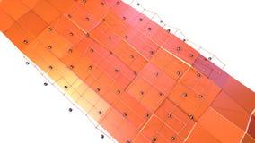 Niska poli- 3D powierzchnia z, czarne sfery jako cybernetyczny środowisko i Miękki geometryczny niski poli- ilustracja wektor