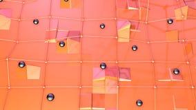 Niska poli- 3D powierzchnia z, czarne sfery jako fantazi środowisko i Miękki geometryczny niski poli- ilustracja wektor