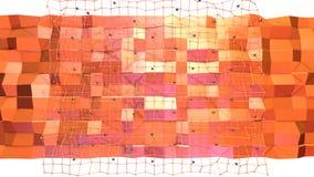 Niska poli- 3D powierzchnia z, czarne sfery jako Prosty środowisko i Miękki geometryczny niski poli- tło ilustracji