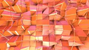 Niska poli- 3D powierzchnia z, czarne sfery jako psychodeliczny tło i Miękki geometryczny niski poli- ilustracji