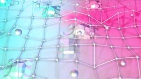 Niska poli- 3D powierzchnia z, poruszające sfery jako fantazi środowisko i Miękki geometryczny niski poli- ilustracji