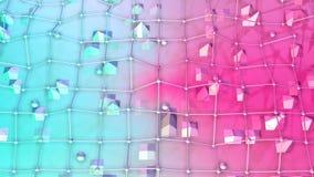 Niska poli- 3D powierzchnia z, poruszające sfery jako olśniewający środowisko i Miękki geometryczny niski poli- ilustracja wektor
