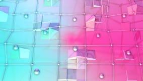 Niska poli- 3D powierzchnia z, poruszające sfery jako przekształcać środowisko i Miękki geometryczny niski poli- royalty ilustracja