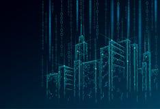 Niska poli- mądrze miasta 3D druciana siatka Inteligentny budynek automatyzaci systemu biznesu pojęcie Binarnego kodu liczby dane royalty ilustracja