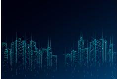 Niska poli- m?drze miasta 3D druciana siatka Inteligentny budynek automatyzaci systemu biznesu poj?cie Wysoka drapacz chmur grani ilustracji