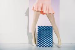 niska sekcja elegancka dziewczyna w menchiach omija pozycję z torba na zakupy fotografia stock