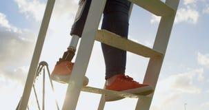 Niska sekcja niepe?nosprawnej kobiety wspinaczkowa drabina w parku 4k zdjęcie wideo