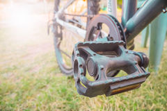 Niska viewing kąta noga na roweru górskiego następie Fotografia Royalty Free