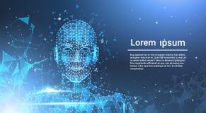 Niska wielobok twarzy ludzkiej Wireframe breja Na Błękitnym szablonu tle Z kopii przestrzenią ilustracja wektor