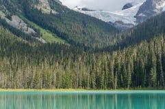 Niski Joffre jezioro z Matier lodowem Fotografia Royalty Free