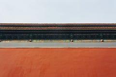 Niski kąt pałac czerwone ściany Niedozwolony miasto w Pekin podbródku zdjęcia royalty free
