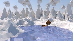 Niski poli- śnieżny krajobraz Zdjęcia Royalty Free